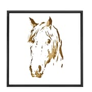 Majestic Mirror Square Abstract Horse Gold Shadow Box Art with Thin Semi Gloss Black Frame