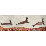 GreenBox Art ''Brown Bunnies Jumping over Flowers'' by Eli Halpin Painting Print on Canvas