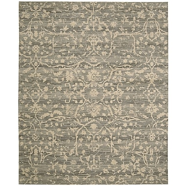 Nourison Silk Elements Taupe Damask Rug; 5'6'' x 8'