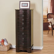 CTE Trading 7 Drawer Jewelry Armoire w/ Flip Top Mirror; Brown