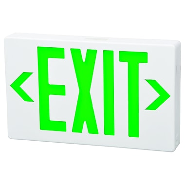 Morris Products LED Exit Sign in Green LED and White Housing w/ Battery Backup