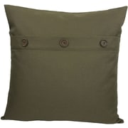 Xia Home Fashions Solid Color with Buttons Feather Fill Cotton Throw Pillow; FallGreen