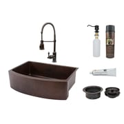 Premier Copper Products 33'' x 24'' Rounded Apron Single Basin Kitchen Sink with Faucet
