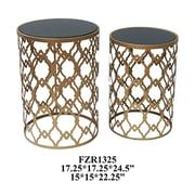 Crestview Monaco 2 Piece Gold and Black Mirror Table Set