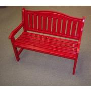 Prairie Leisure Design Wood Garden Bench; Fire Engine Red