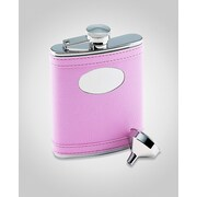 Creative Gifts International 6 Oz. Stainless Steel Flask with Engraved Plate; Pink