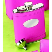 Creative Gifts International 6 Oz. Stainless Steel Flask with Engraved Plate; Hot Pink