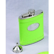 Creative Gifts International 6 Oz. Stainless Steel Flask with Engraved Plate; Lime Green
