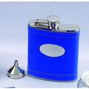 Creative Gifts International 6 Oz. Stainless Steel Flask with Engraved Plate; Indigo