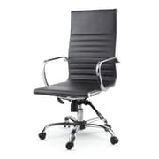 Winport Industries High-Back Leather Swivel Executive Chair; Black