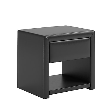 CorLiving BIP-809-N San Antonio Leatherette Upholstered Nightstand, Black