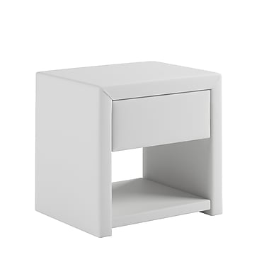CorLiving BIP-819-N San Antonio Leatherette Upholstered Nightstand, White