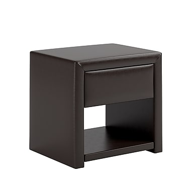 CorLiving BIP-879-N San Antonio Leatherette Upholstered Nightstand, Black Espresso