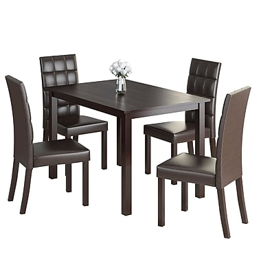 CorLiving DRG-595-Z2 Atwood 5-Piece Dining Set with Leatherette Seats, Dark Brown