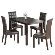 CorLiving – Ensemble de salle à manger 5 pièces DRG-595-Z2 de la collection Atwood avec sièges en similicuir brun foncé