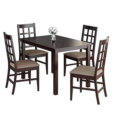 CorLiving DRG-595-Z4 Atwood 5-Piece Dining Set with Leatherette Seats, Taupe Stone