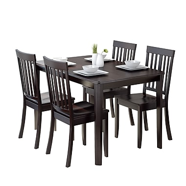 CorLiving DRG-695-Z5 Atwood 5-Piece Dining Set with Stained Chairs, Cappuccino