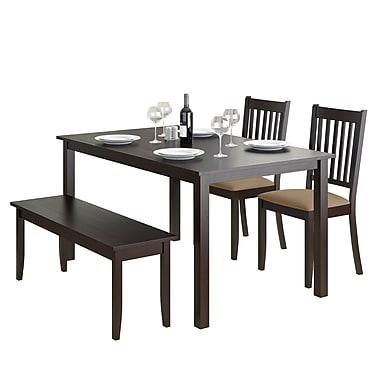 CorLiving – Ensemble de salle à manger 4 pièces DRG-795-Z2 de la collection Atwood avec banc et chaises teints, fini cappucino