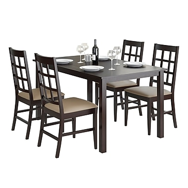 CorLiving DRG-795-Z6 Atwood 5-Piece Dining Set with Leatherette Seats, Taupe Stone