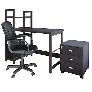 CorLiving WFP-580-Z1 Folio 3-Piece Desk, Cabinet & Office Chair Set, Black Espresso
