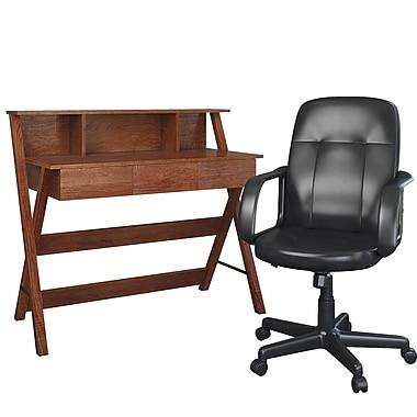 CorLiving WFP-720-Z1 Folio 2-Piece Warm Oak Desk & Office Chair Set