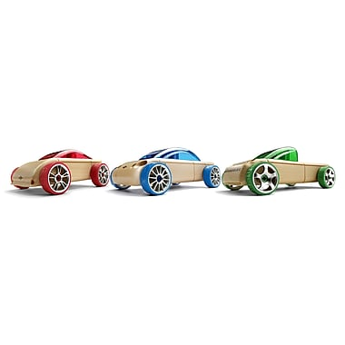Automoblox 53101 Mini Three Pack Wooden Cars, Mix and Match, 10 x 6 x 5 cm Each