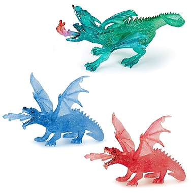 Papo Set of 3 Clear Dragons Hand Painted Figurines