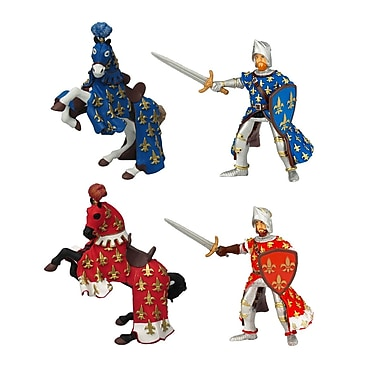 Papo Set of 4 Knights and Horses 2 Hand Painted Figurines
