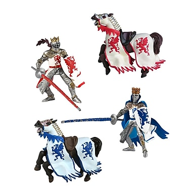 Papo – Enesemble de 4 figurines de chevaliers au dragon et chevaux, peintes à la main