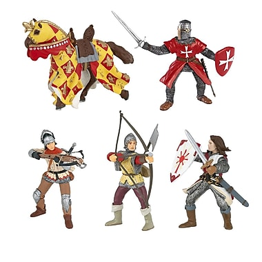 Papo Set of 5 Red Knights Hand Painted Figurines
