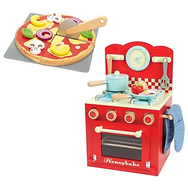 Le Toy Van Red Oven with Create Your Own Pizza with Velcro Removable Toppings
