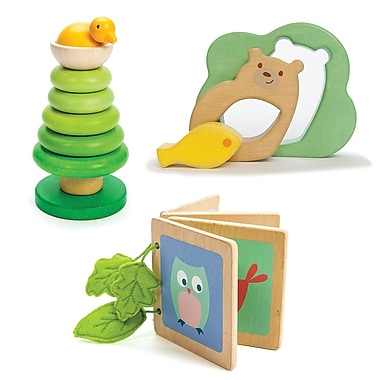 Petilou by Le Toy Van gift set: tree top stacker, woodland book and 3 piece puzzle
