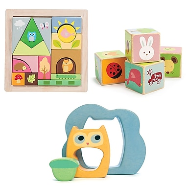 PETILOU BY LE TOY VAN GIFT SET: WOODLAND PUZZLE, LEAF BLOCKS AND 3 PIECE PUZZLE