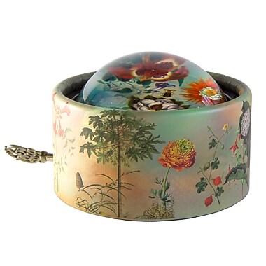 PML PPG191 Wind-up Musical Glass, Paper Weight, La Valse des fleurs