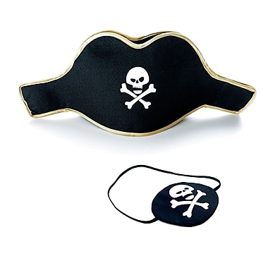 LionTouch Pirate White Skull Eye Patch and Hat, Ensemble Of 5