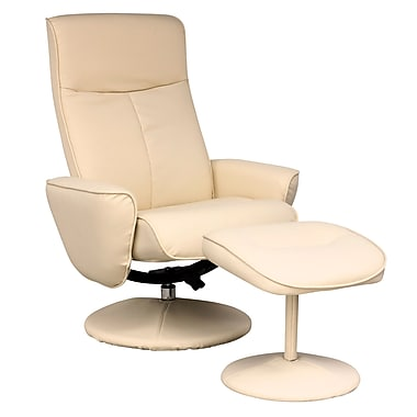 CorLiving LYT-523-C Yalaha Leatherette Reclining Lounge Chair with Ottoman, Ivory Cream