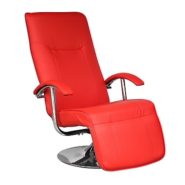 CorLiving LYT-452-C Yalaha Leatherette Reclining Lounge Chair, Warm Red