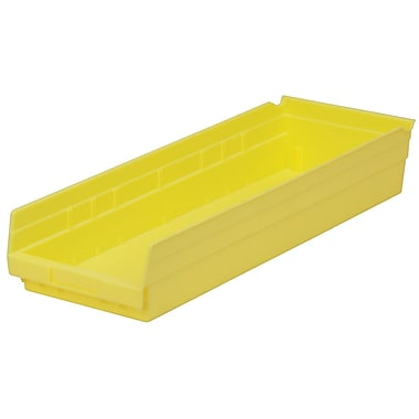 Akro-Mils Shelf Bin,23-5/8 x 8-3/8 x 4, Yellow
