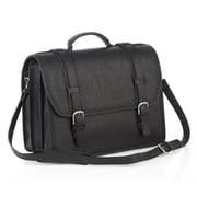 Aston Leather Leather Laptop Briefcase; Black