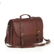 Aston Leather Leather Laptop Briefcase; Brown