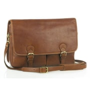 Aston Leather Messenger Bag; Brown