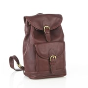 Aston Leather Medium Backpack with Front Pockets; Black