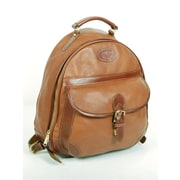 Aston Leather Half-Moon Zippered Backpack; Brown