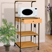 Hazelwood Home Microwave Cart with Wood Top I; Beech