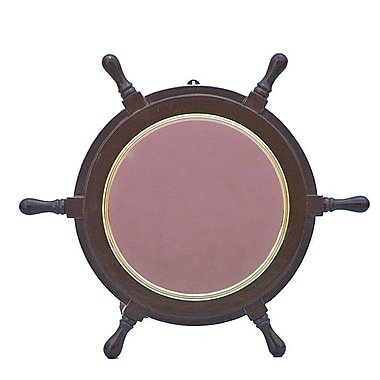 Handcrafted Nautical Decor Deluxe Class 18'' Ship Wheel Mirror; Brass
