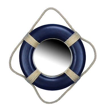Handcrafted Nautical Decor 15'' Decorative Lifering Mirror; Blue