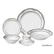Lorren Home Trends Victoria 24 Piece Porcelain Dinnerware Set