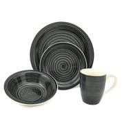 Lorren Home Trends Swirl 16 Piece Dinnerware Set; Black