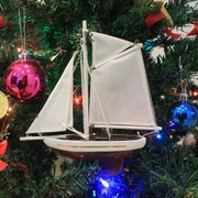Handcrafted Nautical Decor Columbia 9'' Wooden Model Sailboat Christmas Tree Ornament