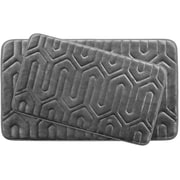 Bath Studio Thea Large 2 Piece Premium Micro Plush Memory Foam Bath Mat Set (Set of 2); Dark Grey